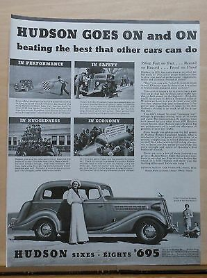 Vintage 1935  magazine ad for Hudson - Goes On and On beating the best