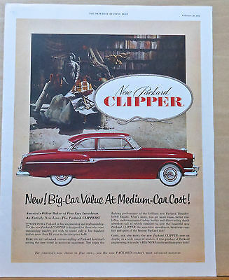 1953 magazine ad for Packard - red Clipper, Big Car Value at Medium Car Cost