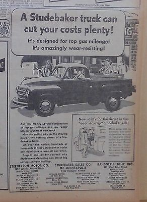 1951 newspaper ad for Studebaker, Pickup truck with enclosed-step cab for safety