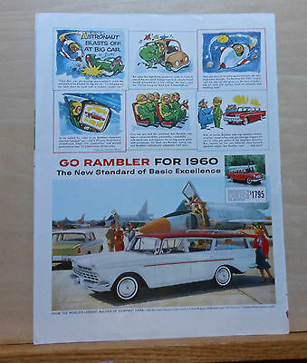 1960 magazine ad for Rambler - Astronaut cartoon, Custom Cross Country Wagon