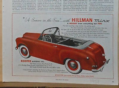 1951 magazine ad for Hillman Minx from Rootes - A Season in the Sun, convertible