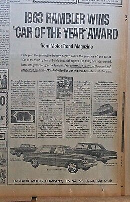 1963 newspaper ad for Rambler - Motor Trend Car of the Year, Classic, Ambassador
