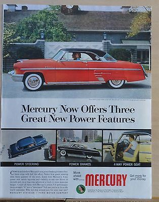 Vintage 1953 magazine ad for Mercury - Offers three Great Power Features