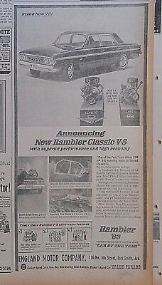 1963 newspaper ad for Rambler - Classic V-8 superior performance, high economy