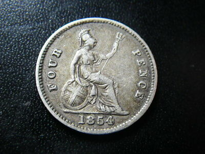 Victoria 1854 Fourpence / Groat (Fine)