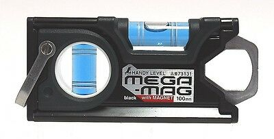 Shinwa Rules Handy Level MEGA-MAG 100mm Black with Magnet 73131 Brand New