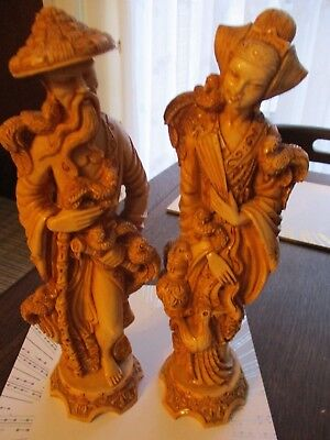 "Pair 10"" ITALY Chinese Fenghuang Bird CHINA Phoenix Couple Resin Figures"