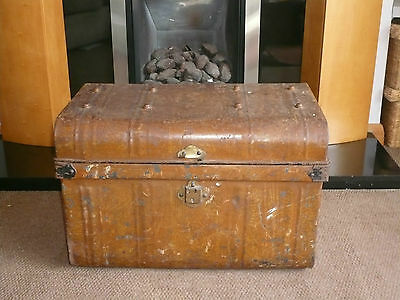 Vintage Large Industrial Metal Strongbox Storage Box Coffee Table Chest Trunk