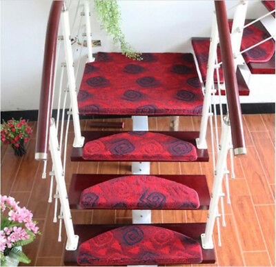 A43 Household 5PCS Step Rug Stair Tread Mat Skid Resistance Carpet 100X24CM Z