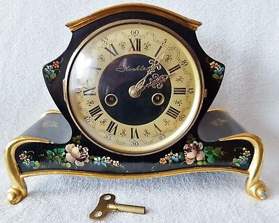 Koehler Mantle Clock 8 Day German Art Deco Piano Black Paint Floral