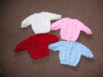 Baby Boy/girl's Hand Knitted Patterned Cardigan Newborn - Free Postage