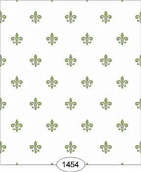 Dollhouse Wallpaper 1:12 Scale Princess-Fleur De Lis Green On White - 1454