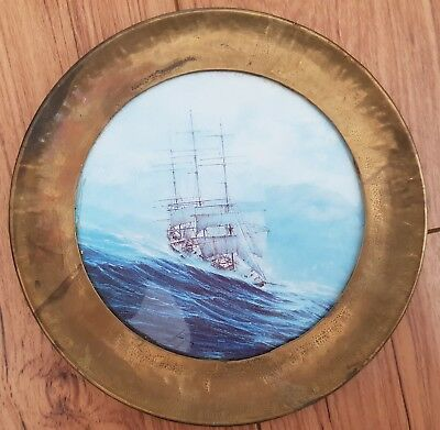 Hand Painted Tile Plaque Signed, Galleon Ship,  Signed Brass Frame West Germany