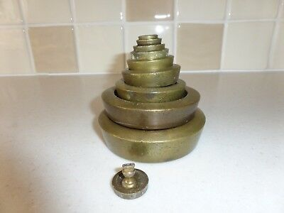 Vintage Brass Weighing Scale Weights Set Of Mixed Weights 4 Lb To 1/4 Oz.