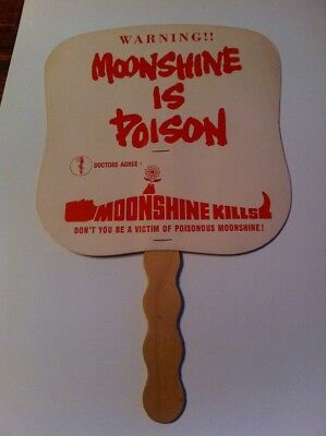 Vintage IRS Moonshine Is Poison Cardboard Hand Fan NOS