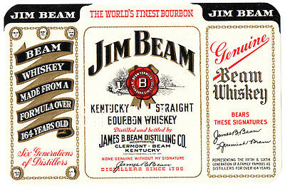 1950s JAMES BEAM DISTILLING CO, CLERMONT, BEAM, KENTUCKY JIM BEAM WHISKEY LABEL