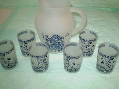 gay fad frosted blue willow pitcher and 6 glasses