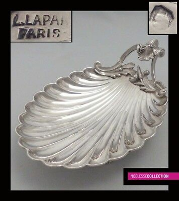 LAPAR ANTIQUE 1880s FRENCH STERLING SILVER COMPOTE SERVING TRAY SHELL Rococo st.
