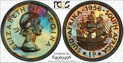 1956 South Africa PCGS PR64RB Rainbow Toned Proof 1D (gm676)