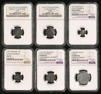 Six British Hammered Silvers All Ngc Certified (1279Ad-1604Ad)  ## No Reserve ##