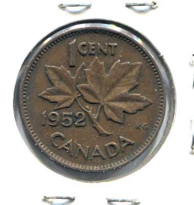 1952 Canadian 1 Cent Maple Leaf Penny Coin - Canada - King George VI