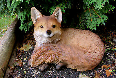 Fox Laying Down Resting Resin Animal Statue 15.8 in. W. Smart Old Fox Foxes New