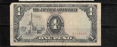 PHILIPPINES #109b 1942 PESO VG CIRCULATED BANKNOTE PAPER MONEY  HOLE CANCEL NOTE