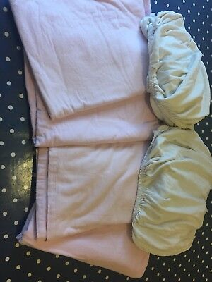 6 x Baby Pink Cream Cotton Cotbed Flat Fitted Sheets Bundle Tesco Mamas Papas