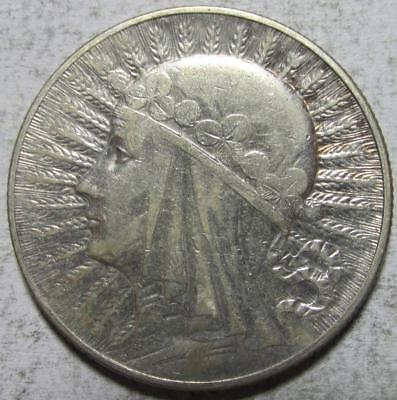 Poland, 5 Zlotych, 1934, VF-XF, Cleaned, Queen Jadwiga, .2652 Ounce Silver