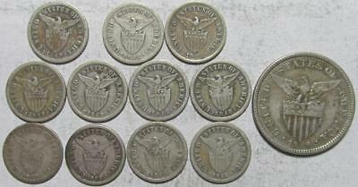 Philippines Mixed Silver Lot, 1907-1935, 12 Pieces, .7713 Ounce Actual Silver