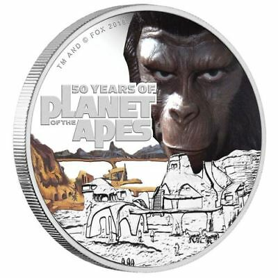1oz Tuvalu Planet der Affen 50 anniversary PP 2018 with Box and CoA