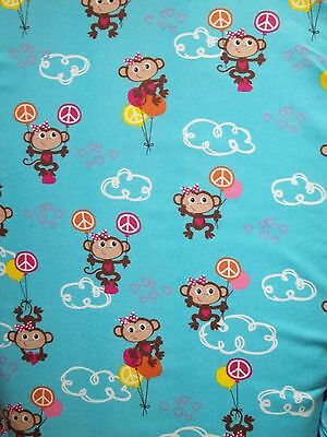 New Hand Made Monkeys on Blue Flannel Fitted Crib/Toddler Sheet