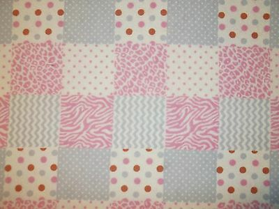 New Hand Made Pink Pastel Square's Flannel Fitted Crib/Toddler Sheet