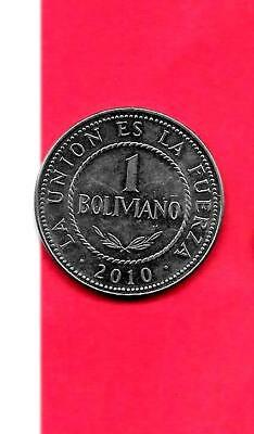 Bolivia Km217 2010 Unc-Uncirculated Mint Large Boliviano Coin