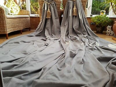 """Huge  Pair Grey Bespoke  Black Out Lined Curtains 157"""" Drop By 74"""" Width"""