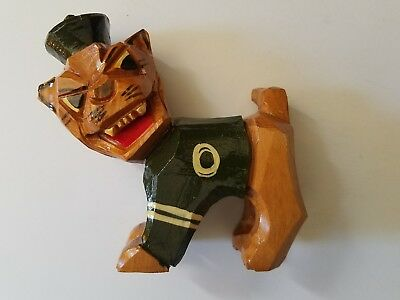 Vintage Anri Carved OHIO UNIVERSITY Wood Mascot rufus Italy Figure