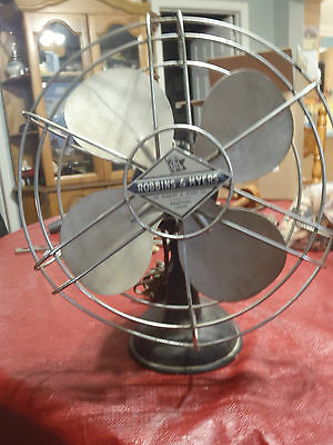 vintage electric fan robin & meyers with cast iron base 10""