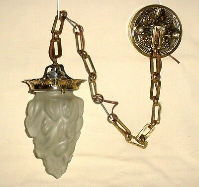 OLD BRASS CEILING LAMP CRYSTAL TORCH FLAME SHAPED SHADE COMPLETE w CANOPY  CHAIN