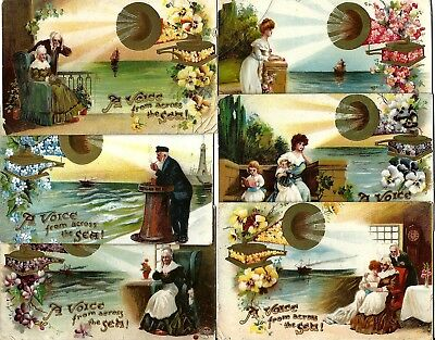 6 x GRAMOPHONES - set - A Voice from across the Sea - Max Ettlinger & Co., 1909