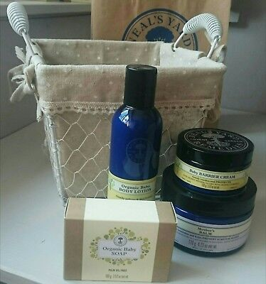 Neal's Yard Organic Baby Bath shampoo Barrier cream lotion Baby Balm gift basket