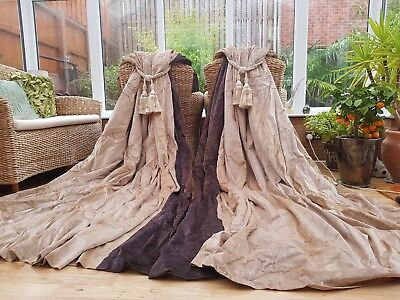 """Huge  Pair Champagne Silk  Velvet Lined Curtains 117"""" Drop By 102"""" Width"""