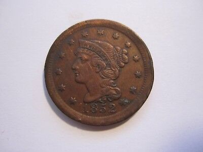 1852 Braided Hair Large Cent, Decent Brown, Detail, Early Us Copper, Free Ship