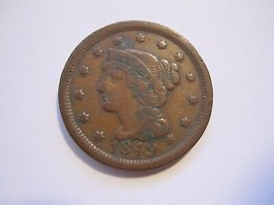1849 Braided Hair Large Cent, Decent Brown, Detail, Early Us Copper, Free Ship