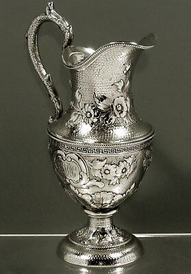 """Tiffany Sterling Silver Pitcher     c1856      """"  HAND DECORATED  """""""
