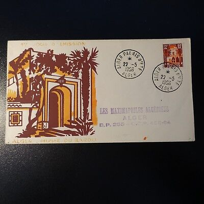 ALGERIA N°335 ON LETTER COVER 1st DAY FDC 1956