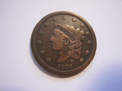 1838 Coronet Head Large Cent, Decent Brown, Detail, Early Us Copper, Free Ship