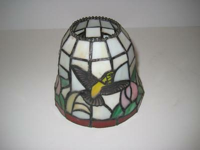 Vintage Stained Leaded Glass Lamp Shade Hummingbird