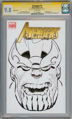 Avengers #7 Cgc 9.8 Signature Series Signed Mike Zeck Thanos Sketch Oa Movie