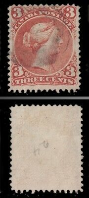 1868 - 1876 CANADA Scott #25 VF 3 C RED LARGE QUEEN - USED