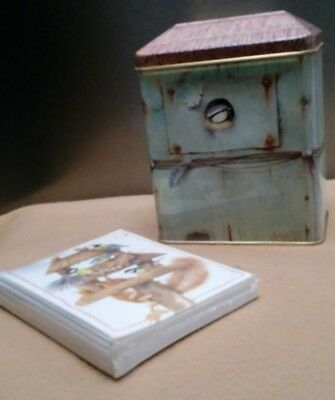 Marjolein Bastin Birdhouse Tin Hallmark 1995 / Bird Tin with Notecards New